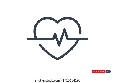 Heartbeat Icon Linear Style, Pulse Wave ECG Cardiograph symbol isolated on White Background. Usable for Healthcare and Medical Graphic Resources. Flat Vector Illustration.
