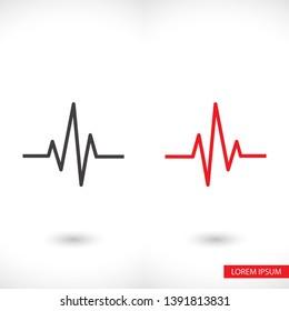 Heartbeat  icon , lorem ipsum Flat design