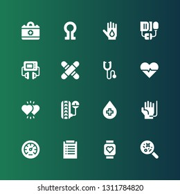 heartbeat icon set. Collection of 16 filled heartbeat icons included Disease, Pulsometer, Diagnosis, Pressure, Blood donation, Hearts, Heartbeat, Phonendoscope, Medical, Defibrillator