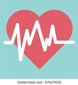 Heartbeat icon sign. Flat design for medical business health financial hospital marketing banking sign insurance icon advertisement background symbol vector concept cartoon illustration.