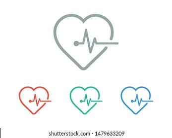 Heartbeat icon vector illustration EPS 10. Heart, pulse symbol