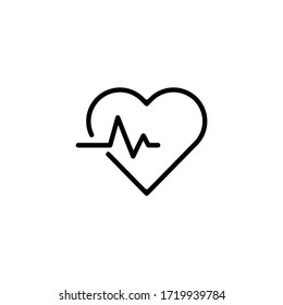 Heartbeat Icon Vector Illustration Logo Template. Heart pulse vector icon or logo element in outline style. Life icon vector. Flat Icon Heart Cardiology Symbol.