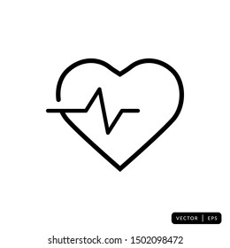 Heartbeat Icon Vector - Sign or Symbol