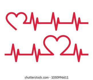 Heartbeat icons. Electrocardiogram, ecg or ekg isolated on white background