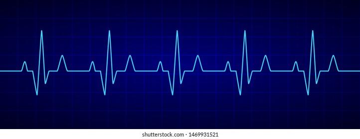 Heartbeat line. Blue cardiogram. Electrocardiogram. Vector illustration.