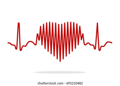 Heartbeat Line Heart Cardio. Heart rhythm ekg. Vector illustration.