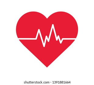 Heartbeat Line in Heart. Vector illustration. on white background