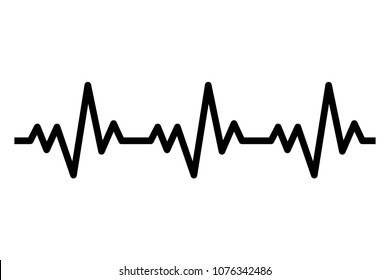 Heartbeat line icon. Heart rhytm. ECG. Electro Cardiogram. Vector illustration isolated on white background.