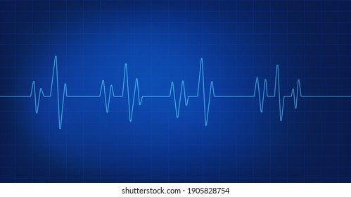 Heartbeat line icon isolated on blue background. Medical background. Blue electrocardiogram. Vector illustration.