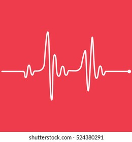 Heartbeat Line Red Background
