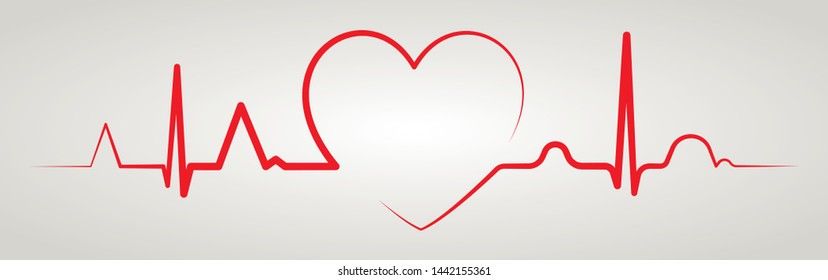 Heartbeat line with shape of heart. Healthy electrocardiogram or ECG. One pulse line. Beautiful health cardiogram. Flat healthcare design icon. Vector illustration.