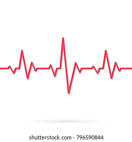 Heartbeat line. Vector illustration of Red heart rhythm ekg. Pulse Cardiogram pattern or icon
