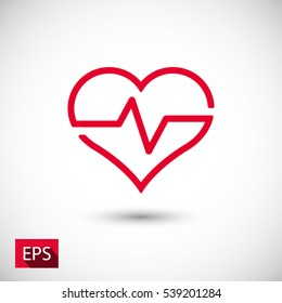 Heartbeat, linear icon. One of a set of linear web icons