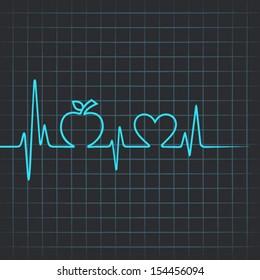 Heartbeat make apple and heart symbol - vector illustration