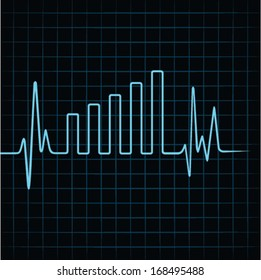 Heartbeat make business graph stock vector