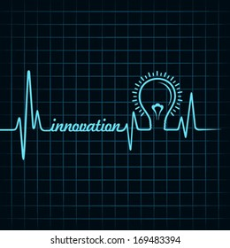 heartbeat make innovation word and light-bulb stock vector
