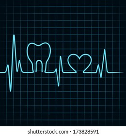 Heartbeat make a teeth and heart symbol stock vector