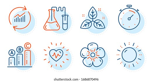Heartbeat, Natural linen and Update data signs. Fair trade, Timer and Graph chart line icons set. Sun energy, Chemistry lab symbols. Leaf, Deadline management. Science set. Outline icons set. Vector