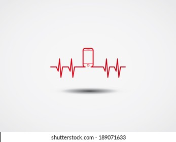 Heartbeat with phone symbol. Vector Illustration.