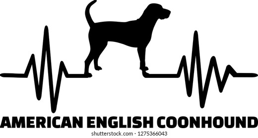 Heartbeat pulse line with American English Coonhound dog silhouette