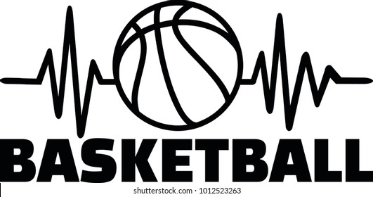 Heartbeat pulse line with basketball