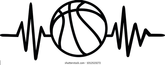 Heartbeat pulse line with basketball and word