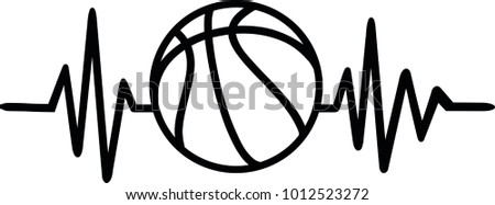 heartbeat pulse line basketball word stock vector royalty free