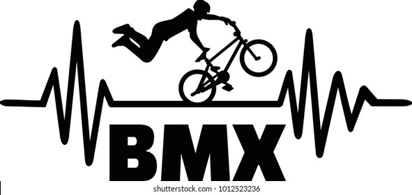 Heartbeat pulse line with BMX stuntman
