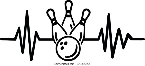 Heartbeat pulse line with bowling word and bowling ball and pins