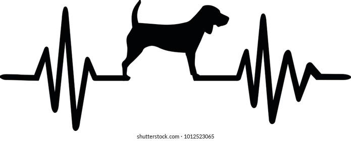 Heartbeat pulse line dog with beagle silhouette black