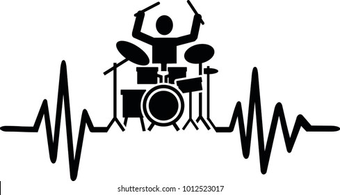 Heartbeat pulse line drummer with drummer silhouette