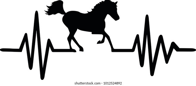 Heartbeat pulse line with galloping horse black