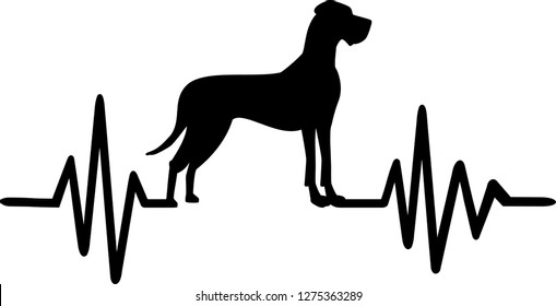 Heartbeat pulse line with Great Dane dog silhouette