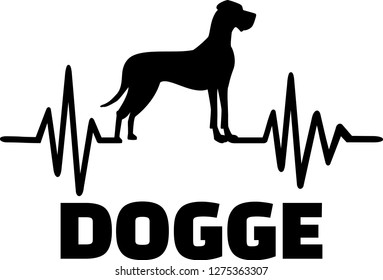 Heartbeat pulse line with Great Dane dog silhouette german