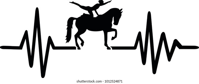 Heartbeat pulse line with horse and acrobat on horseback
