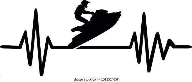 Heartbeat pulse line with jetski on water