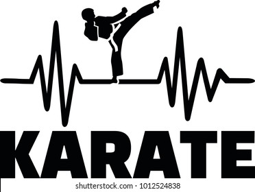 Heartbeat pulse line with karateka doing a karate chop