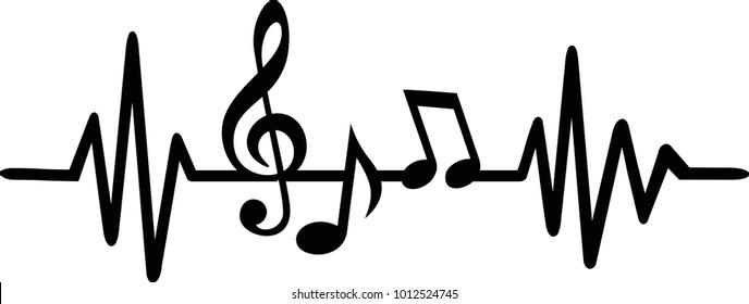 Herzschlag-Pulslinienmusik mit Noten und Klecks