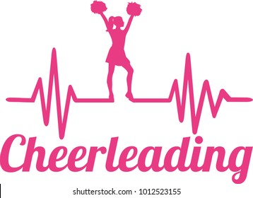 Heartbeat pulse line pink with cheering cheerleader