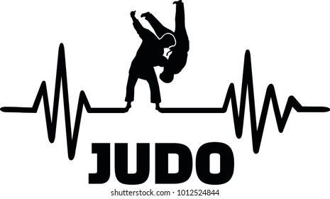Heartbeat pulse line with two fighting judoka
