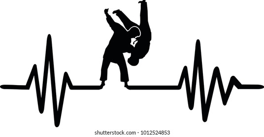 Heartbeat pulse line with two fighting judoka and word