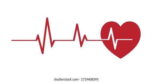 Heartbeat pulse line vector image