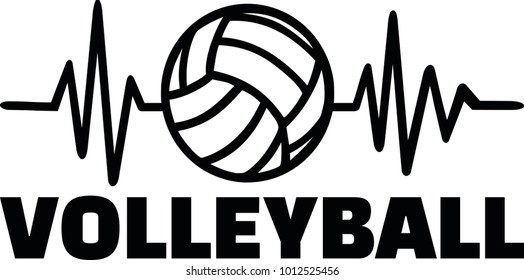 Heartbeat pulse line with volleyball player and volleyball
