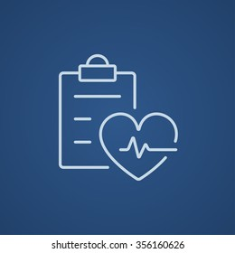 Heartbeat record line icon for web, mobile and infographics. Vector light blue icon isolated on blue background.