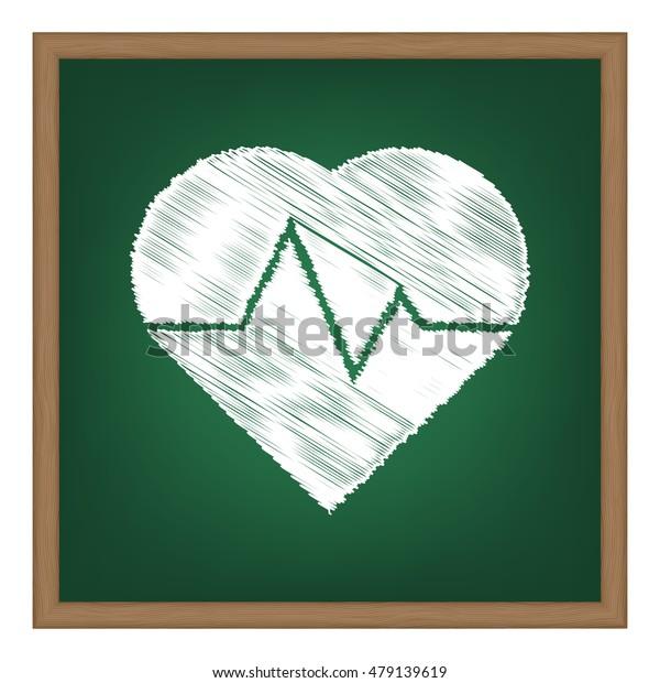 Heartbeat sign illustration. Flat style black icon on white.
