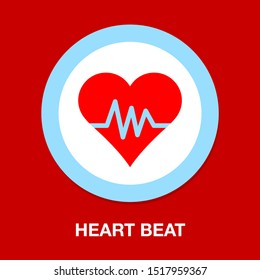 Heartbeat symbol, ecg or ekg heart beat illustration