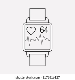 Heartbeat tracker app icon line element. Vector illustration of heartbeat tracker app icon line isolated on clean background for your web mobile app logo design.