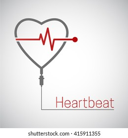 Heartbeat vector icon. Drop counter with heartbeat pulse.  Cardiology healthcare concept. Infusion therapy.