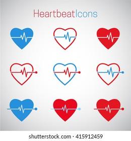Heartbeat vector icons. Cardiogram vector icons. Health heart. Medicine icons set. Cardiology healthcare concept.