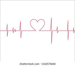 Heartbeat vector illustration.Medical cardiogram.Heart rhythm.